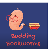 An illustration of a happy worm pulling some books.