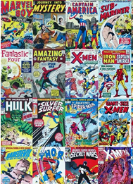 A collage of vintage comic book covers