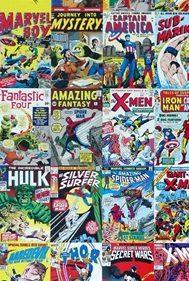 A collage of vintage comic book covers.