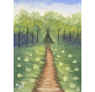 Painting of a trail leading through a field into the woods.