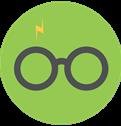 Lightning bolt and glasses icon