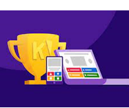 Illustration of a trophy and devices displaying Kahoot