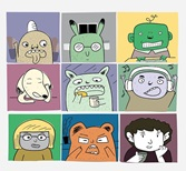 A video call with cartoon characters