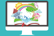 Illustration of fairy tale book on computer screen