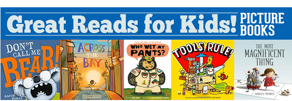 Covers of different picture books and text: Great Picture Books for Kids.