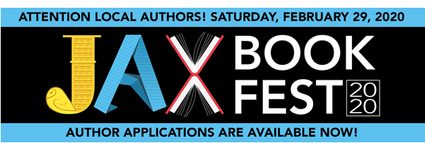 Visual: Jax Book Fest logo 2020< February 29, 2020 Text: Attention local Authors Author Applications Are Available Now!