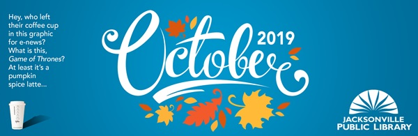 Header for e-newsletter: September Jacksonville Public Library with floral graphic in background