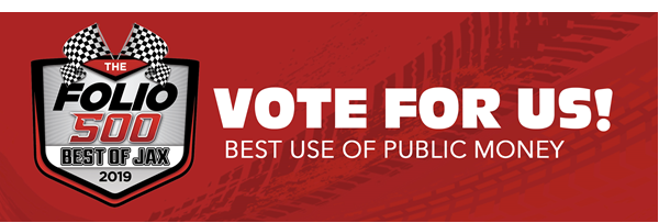 Graphic of Folio 500 Best of Jax 2019 logo. Text: Vote for Us! Best Use of Public Money