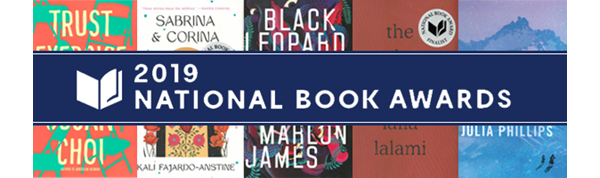 Graphic of 2019 National Book Awards with various books in background