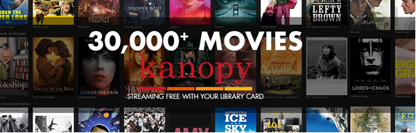 Movie covers in background with text 30,000 movies from kanopy, streaming free with your library card from Jacksonville Public Library
