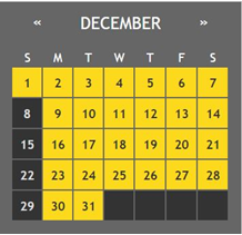 a calendar of the month of December