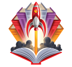Rocket launching from an open book