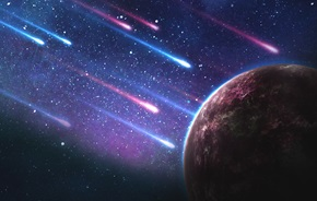 Artistic rendering of outer space with comets streaming towards an unidentifiable planet