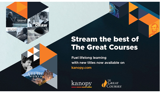 logos for kanopy streaming services and the Great Courses series