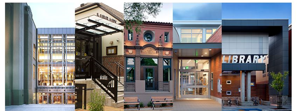 collage of front entrances to all five Berkeley Public Library locations