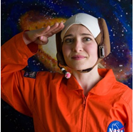 female actor wearing astronaut outfit