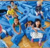 children playing with big foam blocks