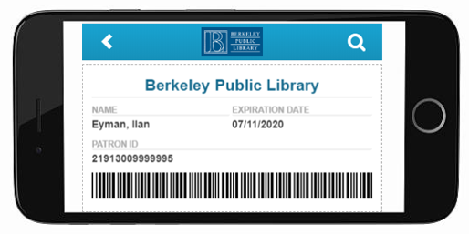Picture of mobile phone with digital library card displayed