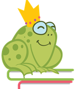 drawing of a frog wearing a crown sitting on top of books