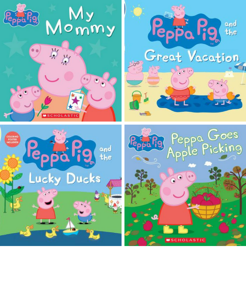 A collage of Peppa Pig book covers