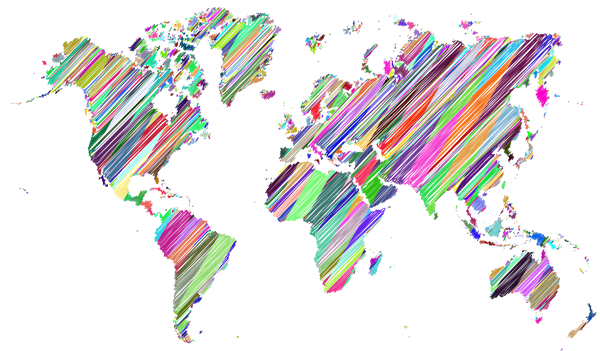 graphic of world map in bright colors