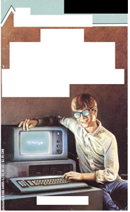 Book jacket with title and author redacted. Image shows a boy with a 1990s era computer.