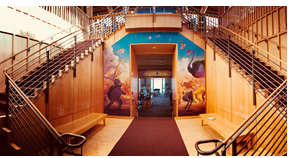 photo of staircases at Beaverton City Library