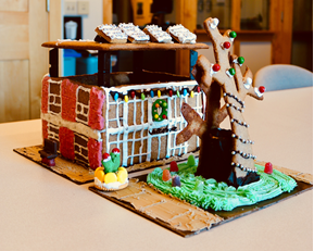 model of Beaverton City Library made of gingerbread and candy