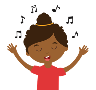Illustration of a child singing, with music notes