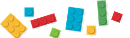 Image of miscellaneous LEGO-style blocks in bright primary colors
