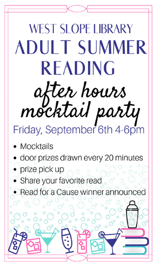 Adult Summer Reading after hours mocktail party poster with illustrations of drinks in fancy glasses