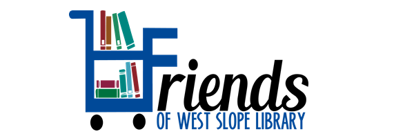 Logo of the Friends of West Slope Library featuring a cartoon icon of a book cart with books on it