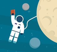 Astronaut brandishing book