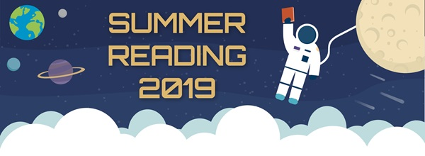 banner with outer space theme announcing summer reading