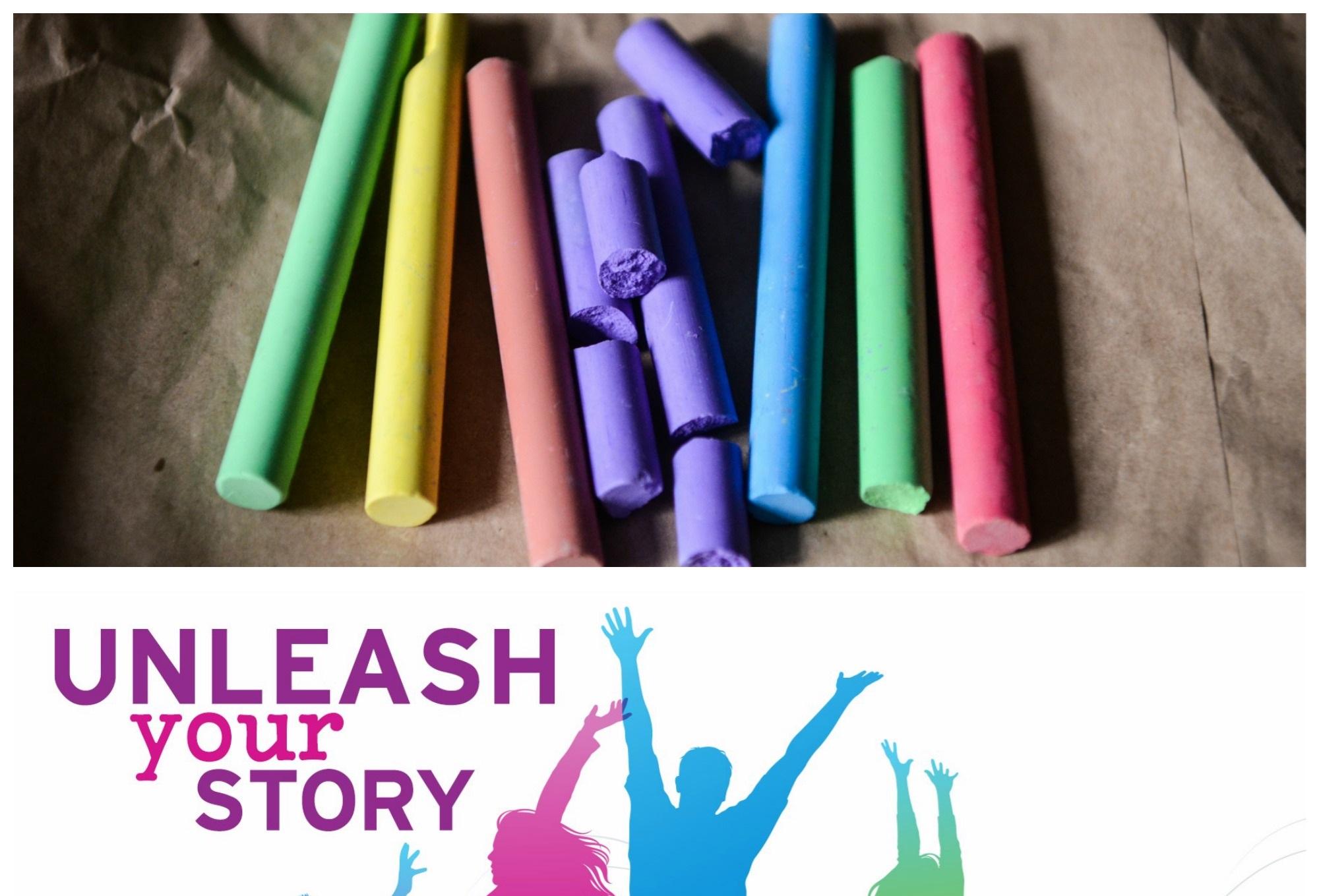 rainbow chalk and teen read week