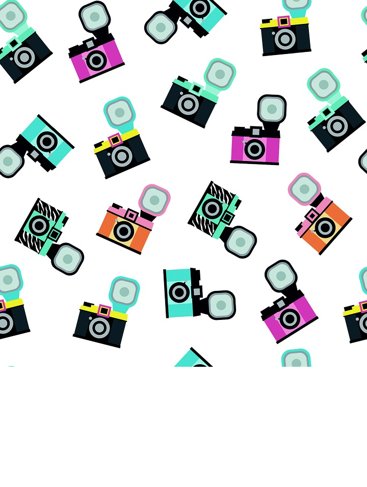 Multiple images of different colored cameras with flashbulbs