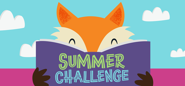 Illustrated fox with a purple book that says Summer Challenge
