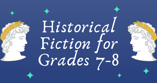 """The text """"Historical Fiction for Grades 8-7"""" is between two Greek silhouettes"""
