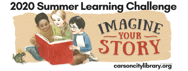 2020 Summer Learning Challenge: Imagine Your Story. Sign up at carsoncitylibrary.org