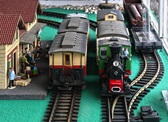 Photo of a model train.