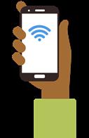 grafica de una mano con señal de internet