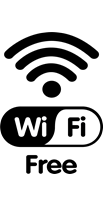 graphic of wifi icon with the word free
