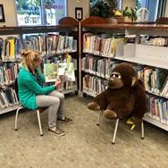 bibliotecaria leyendole a un gorilla