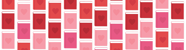 rows and rows of red and pink book covers (blank aside from color) in a pattern.