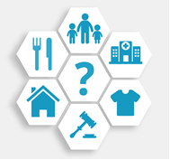 Graphic showing various symbols such as food, questions, law, housing, etc.
