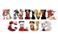 Colorful letter shapes filled with anime characters spelling out Anime Club