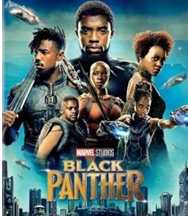Poster art from movie Black Panther showing cast imposed over city scene