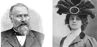 Portrait photographs of Claus and Alma Spreckels.