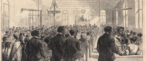 """Image: """"The National Colored Convention in Session at Washington, D.C."""" Sketched by Theo. R. Davis"""
