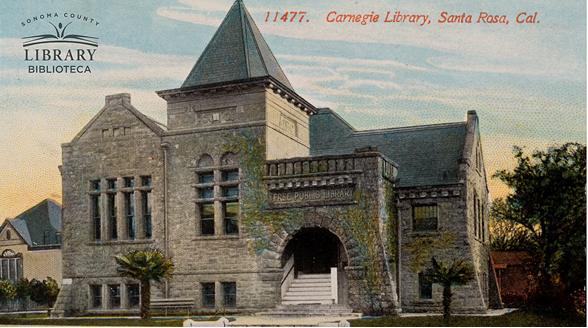 Virtual Zoom Background of postcard of Carnegie Library, Santa Rosa.